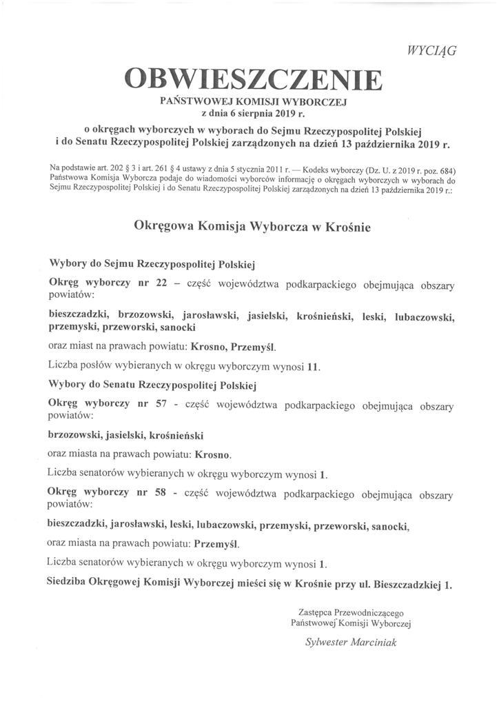 Obwieszczenie PKW - o okręgach wyborczych w wyborach do Sejmu RP i do Senatu RP - Wyciąg.jpeg