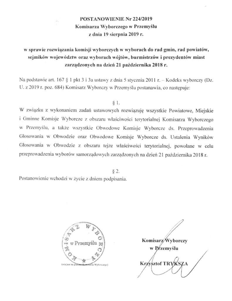 Postanowienie Nr 224_2019 w sprawie rozwiązania komisji wyborczych w wyborach samorządowych.jpeg