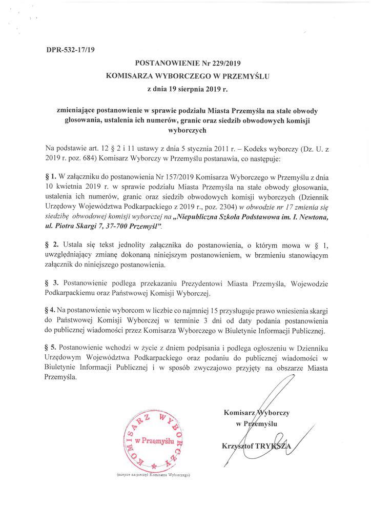 Postanowienie Nr 229_2019 z dn. 19.08.2019r. zmieniające postanowienie w sprawie podziału Miasta Przemyśla na stałe obwody głosowania, ustalenia ich numerów.jpeg