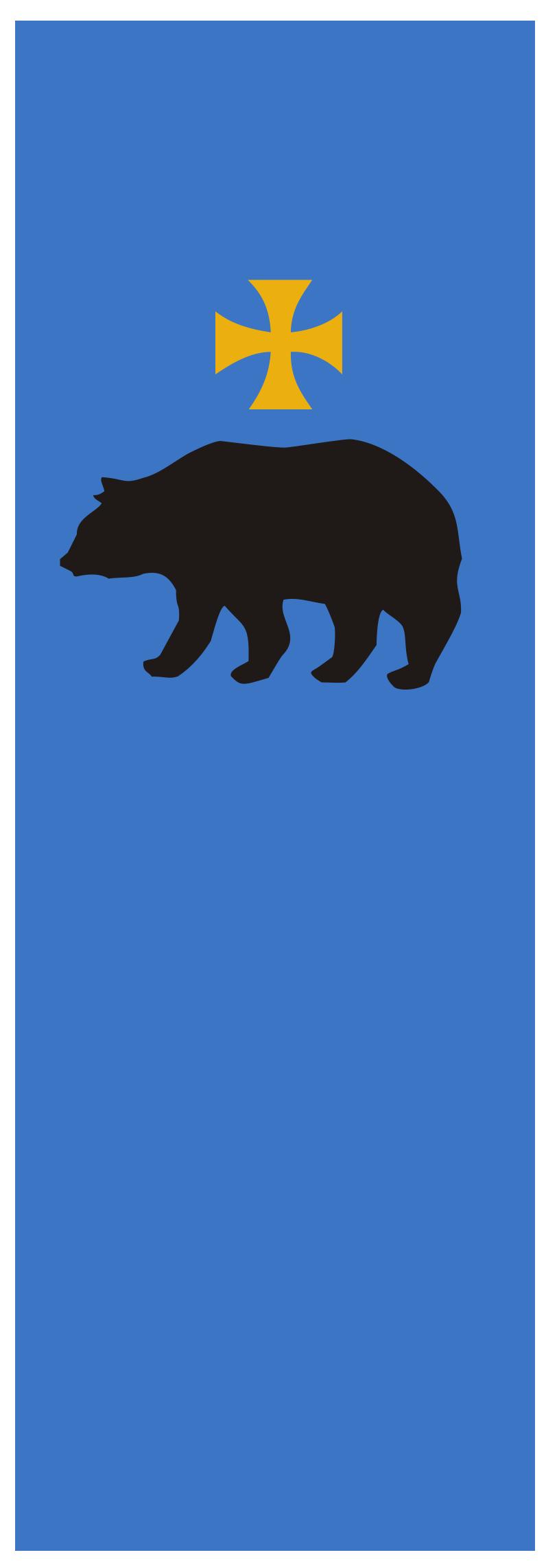 Wzór Flagi Pionowej Miasta Przemyśla. Podstawa prawna: Uchwała Nr 144/2005 zmieniająca uchwałę w sprawie ustanowienia flagi Miasta Przemyśla